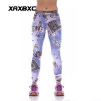 Wholesale Dollar Leggings - New KYK1040 Sexy Girl Slim Sport Yoga Pants Dollar 3D Prints High Waist Stretch Jogging Workout Fitness Women Leggings