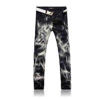 Wholesale Black Lighting Slacks - Wholesale-Wolf Print Jeans Pants 2016 Black Fashion Jeans Men Print Straight Slim Designer Brand Painted Stretch Jeans For Men Slacks Jean