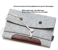 Wholesale Wool Felt China - High Quality Simple Style Wool Felt & Crazy horse leather sleeve Case For ipad air 2 bags For ipad pro 9.7 inch Tablet
