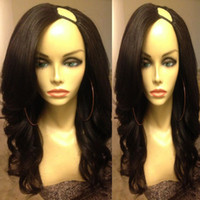 Wholesale U Part Wigs Human Hair Brazilian Wavy Unprocessed Virgin Hair Middle Left Right U Part Lace Wigs Natural Color inch