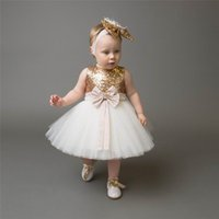 Wholesale Wholesale Dres - 2017 Summer New Girl Sequins Party Dress Big Bow Gauze Sleeveless Princess Dress Children Clothing 0-10Y CC021 Only Include Dres