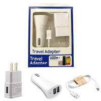 Wholesale Home Car Usb Charger Kit - For Samsung Adaptive Wall Charger with Micro USB Cable Home Car Travel Adapter US EU 5V 1A Kits 3 in 1 with Package For Galaxy S4 S5 S6 S7