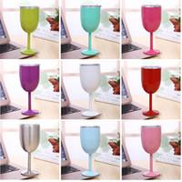 gläser formen farbe großhandel-10oz Becher Stem Wein Eierbecher Weingläser Vakuum isoliert Becher Edelstahl mit Deckel Ei Form Becher Tasse 9 Farbe
