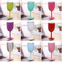 Wholesale Glass Shaped Cup - 10oz Goblet Stem Wine egg cups wine glasses Vacuum Insulated mug Stainless Steel with lid egg shape mug cup 9 color