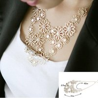 Wholesale Western Pendant Necklace Chains - Hot sale Brand Design western style Multilayer Pendants Rhinestone gold hollow flowers necklace jewelry statement