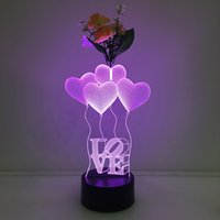 3D Love Ballon Illusion Lamp Night Light avec Flower DC 5V USB Charging AA Battery Wholesale Dropshipping Expédition gratuite Retail Box