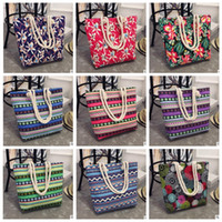 Wholesale Ladies Summer Bags - Girl Casual Summer Canvas Shopper Shoulder Bag Striped Beach Bags Large Capacity Tote Women Ladies Casual Shopping Handbag Bolsa KKA2662