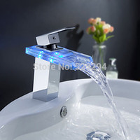 Wholesale Wall Mounted Waterfall Faucet Light - Wholesale- LED Light Glass Waterfall Basin Faucet for Bathroom.Torneira Led.Chrome Finished Colorful Deck Mounted Sink Mixer Tap.