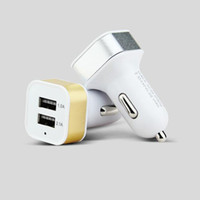 Wholesale colorful car dual charger for sale - New Universal Colorful Car Phone Mini Charger Round Square Quick Charge Adapter A A Micro auto power Adapter Nipple Dual USB Port