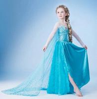 Wholesale Fantasia Blue - Girls Dresses Halloween Dress Princess Movie Cosplay Party Dress Vestidos fantasia Anna Elsa Costumes