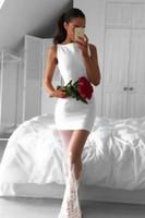 eşsiz zarif gece elbiseleri toptan satış-Zarif Kare Yaka Kolsuz Beyaz Mermaid Akşam elbise Gelinlik Modelleri Benzersiz Tasarım Dantel Trim Uzun Parti Resmi Elbiseler