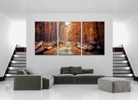 Wholesale 12x18 Wood Picture Frame - 3 Panels Woods Forest Landscape Canvas Painting Home Decor Canvas Wall Art Picture Digital Art Print for Room Wall
