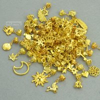 Wholesale Diy Charms Gold - Wholesale- New mix sale 40pcs lot (about 30 pattern) classic gold charms diy beads connect metal pendants for bracelets jewelry making 3140