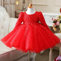 Wholesale Knee High For Infants - Wholesale- High Quality Red White baby girls long sleeve 1 year old birthday dress sequin baptism christening wedding dress for infant