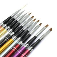 nail polish art pens toptan satış-10pcs Nail Art Fırça Boyama Kalemi Profesyonel Tırnak Tasarımı Tasarımı Eğri Boyama Jel Boyama Kalem Lehçe Fırça Seti Aracı