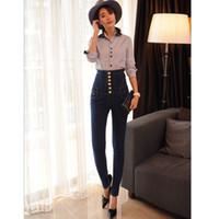 ingrosso jeans caldi neri-velluto caldo Jeans donna con vita alta che si estende aderente jeans blu nero femminile autunno inverno velluto matite skinny jeans Pantaloni
