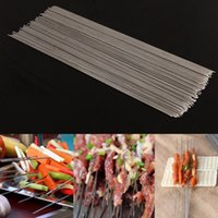 Grill levou 100Pcs Stainless Steel Party BBQ Agulhas Sticks 29cm Portable Grill Churrasco Skewers Kebab Needle Outside Accessories