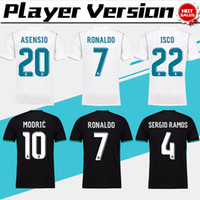 black football player - 2018 player version Away black Real Madrid Soccer Jersey CR7 soccer shirt Ronaldo Bale Football uniforms Asensio SERGIO RAMOS sales