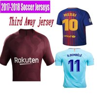 Wholesale Drape Neck Shirt - 2017 NEW AAA Barcelone 2018 THAI TOP MESSIS ADULT Barcelonaes 17 18 HOME RED AWAY MEN SHIRT