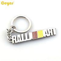 Wholesale lancer key - Car Keyring key chain Logo RALLI ART Emblem Badge case for mitsubishi axs lancer 9 10 l200 pajero Car Accessories Key Chain Styling