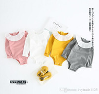 Wholesale Ruffle Pans - INS new arrivals fall baby kids candy color climbing romper ruffles pet pan collar long sleeve girl kids romper baby fall rompers 0-2T