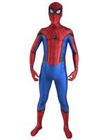 ingrosso costumi da supereroe del capretto di zentai-2017 Nuovo Spiderman Homecoming Costume di Halloween Cosplay Spider-Man Supereroe Fullbody Zentai Vestito Per Adulti / Bambini / Custom Made Vendita Calda