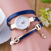 Wholesale Assorted Women Watches - new arrival fashion women wrist watch leather wrap angel wing charm bracelet watches assorted colors cheap W043