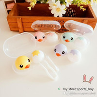 Wholesale 4 Colors Style Lovely Duck Style Contact Lens Case New Contact Lens Storage Set Colourful Circle Lenses Box With Tweezers And Stick