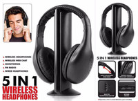 Wholesale Cordless Pc Headset - MH2001 5 in 1 Wireless Cordless Headphone Headset Earphone for PC TV Radio Wireless Headphone Gaming Headphone Microphone FM Radio TV Head