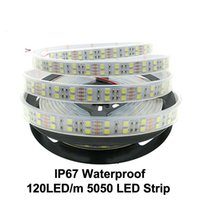 Wholesale Led Strip Waterproof White Silicone - LED Strip 5050 DC12V 120leds m Silicone Tube Waterproof Flexible LED Light Double Row 5050 Holiday Lighting LED Strips 5m lot