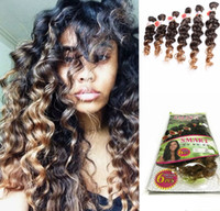 Wholesale Synthetic Brazilian Weaving Hair - New style brazilian hair weave bundles synthetic braiding hair extension ombre color peruvian vierge hair for black women