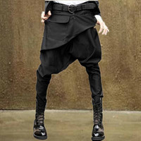 pantalones holgados coreanos de las mujeres al por mayor-NWT Hombres Mujeres Unisex Estilo coreano Casual Hip Hop Dance Low Drop Entrepierna Gótico Emo Punk Goth Harem Baggy Tapered Skinny Pants Slacks Pantalones