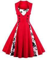 Wholesale Vintage Women Dresses Dots Rockabilly - Women's Retro Elegant Dress Sleeveless V-Neck Rockabilly Vintage Floral Polka Dot Pin up Swing Cocktail Party Dress