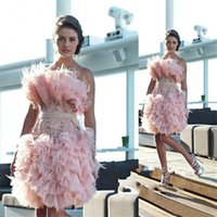 Wholesale Fancy Dress Cocktails - 2017 Fancy Noble Pink Short Homecoming Dresses Strapless With Beaded Feather Prom Dresses Back Zipper Custom Made Cocktail Gowns Pleats New