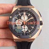 Wholesale Watch Steel Strap 12 Mm - High Quality Chronograph Watch 44mm Automatic Carbon Fiber Gentry Watch Royal Sec@12 Rubber Strap 26400 JF factory Waterproof watch DHL ship