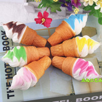 Wholesale Cupboard Decoration - 2 1sq Soft Simulation Squishy Torch Ice Cream Toys PU Cake Model Squishies Food Toy For Cupboard Decoration Slow Rebound Pendants Gifts 10cm