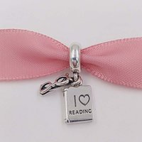 Wholesale read love - Authentic 925 Sterling Silver Beads Love Reading Pendant Charm Fits European Pandora Style Jewelry Bracelets & Necklace 791984 book dangle
