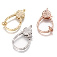 Wholesale Double Sided Clasps - 3 Color Cubic Zirconia Double Sides Micro Pave Lobster Clasp for Jewelry Making ICKI002 Size 39.8*23mm