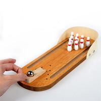 Wholesale Wooden Mini Vehicles - Mini Wooden Desktop Bowling Game Kids Children Developmental Toy Gift Decor Baby House Entertainment Toys Decompression finger toy