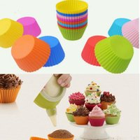 Wholesale Wholesale Cupcakes - 7cm Round Shaped Silicone Cake Baking Molds Muffin Cups Cake Mould Cupcake Bakeware Maker Mold Tray Jelly Baking Mold Cup 8 color KKA1554