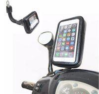 su geçirmez telefon tutacağı toptan satış-DHL Ücretsiz Motosiklet Su Geçirmez Cep Telefonu Kılıfı Çanta için Motosiklet Dikiz Aynası Montaj Tutucu Iphone için Samsung