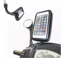 Wholesale Motorbike Case - DHL Free Motorcycle Waterproof Cell Phone Case Bag Motorbike Rearview Mirror Mount Holder for Samsung for Iphone