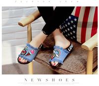 Wholesale Flat Carton - free shipping women slipper peep-toe female shoes carton casual style and denim flat heel shoe