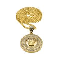 rhodinierte krone großhandel-Männer-Diamant-Kronen-runder männlicher Hip-Hop-Gold überzogene Kronen-Anhänger-Legierungs-Umbau-Halskette kubanische Kette