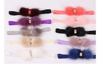 Wholesale Headwrap Girl - Boutique fur headband for baby girls Kids rhinestone feather headband headwrap girls rhinestone elastic headband 24pc lot
