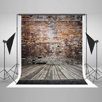 ingrosso fondali muro di mattoni-5x7ft (150x220cm) Vintage marrone muro di mattoni fotografia Sfondi grigio pavimento in legno Fondali foto senza rughe