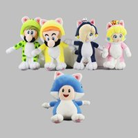 Wholesale Super Mario Plush Figures - 5pcs Lot 18-20cm Super Mario Cat Luigi princess Mario Plush Doll Stuffed Toy For Child Gifts