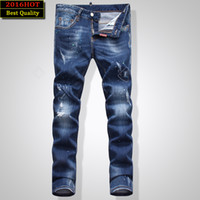 Wholesale Skinny Jeans Korean Style - Wholesale-2016 New Western Style Washed Hole Men'S Korean Jeans Slim Fit Feet Straight Men'D2 Long Pants