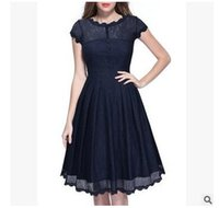 Wholesale Midi Dresses Online - Hot selling women short sleeve pleated dress with sheer black halter dress evening dress swing big woman shopping online in india