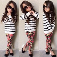 Wholesale Zebra Leggings Hot - INS HOT Girls Baby Childrens Clothing Sets Striped T-shirts Floral Pants 2Pcs Set Spring Autumn Girl Kids Leggings Boutique Clothes Outfits